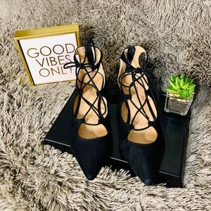 Express Suede Pointed Toe Lace Up Flats